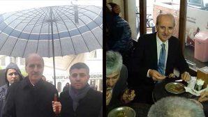 Bakan, önce yağmur, sonra künefe yedi!