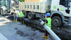 Çöken kanalizasyon hattı yenilendi …