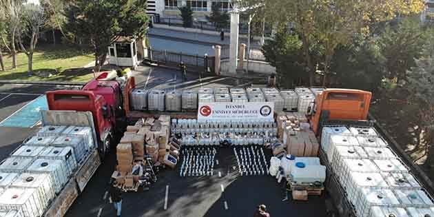 256 ton sahte içkiye el kondu