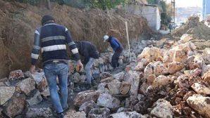 HBB'den Defne'de taş duvar çalışmaları