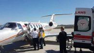 Suudi Arabistan'dan ambulans uçakla ilimize getirildiler.