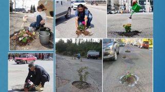 Hatay cadde-sokaklarında çiçek ekimi