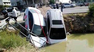 Gelin Aracı Kanala Düştü