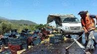 Hassa'daki kazada kamyon devrildi