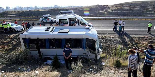 Hatay Yolcu Otobüsü Ankara'da Kaza Yaptı